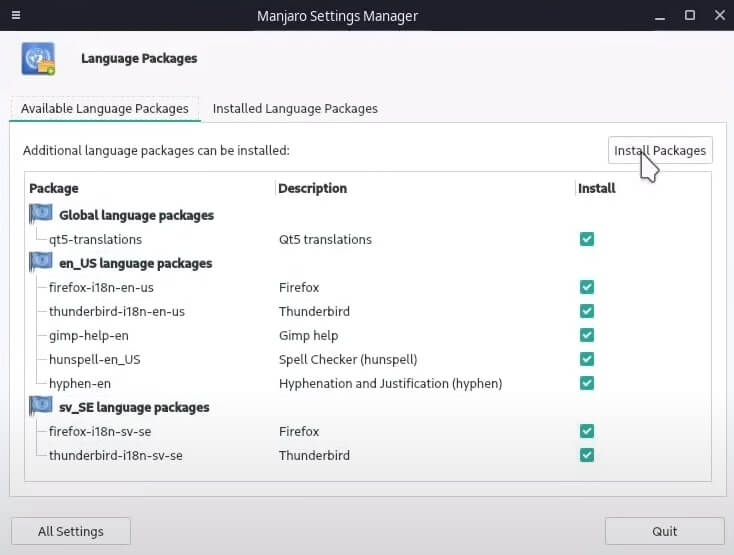 Installing language packs on Manjaro XFCE.