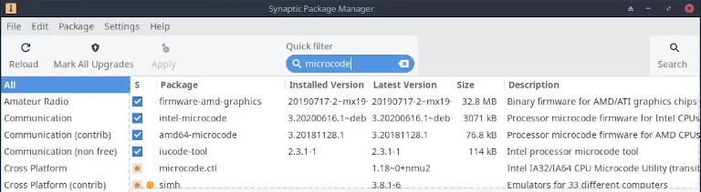 Synaptic package manager showing that processor microcodes are installed on MX Linux