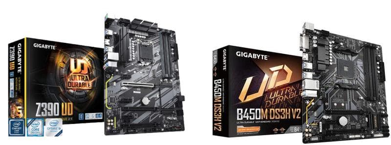 Gigabyte Z390 UD on the left and Gigabyte B450M DS3H V2 motherboard on the right.
